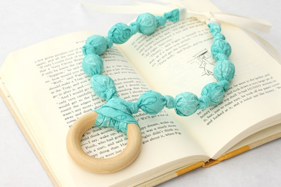 Teething Ring Necklace for Breastfeeding/Nursing Necklace, Teething Necklace, Babywearing, Teal Necklace