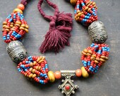 TUAREG Colorful MULTI Strand Pendant Necklace: Amber & Egg Bead Moroccan Berber Pendant
