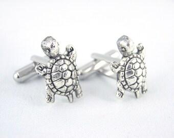 Tiny Turtle Cufflinks - Sea Creature Cufflinks Turtle Cuff Links Beach Cufflinks Ocean Cufflinks Beach Wedding Groom Gift
