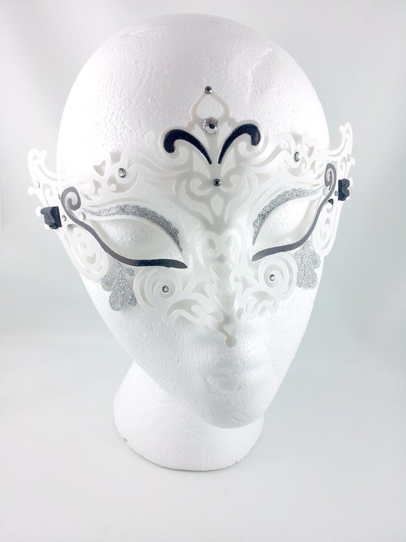 The White Jester Filigree Venetian Mask - Ready to Ship
