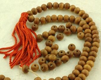 Aromatic 6mm Sandalwood Beads, 108 beads /Natural Indian Sandalwood / Natural Fragrant Brown Wood, Boho, Yoga Craft, Jewelry Making Supplies
