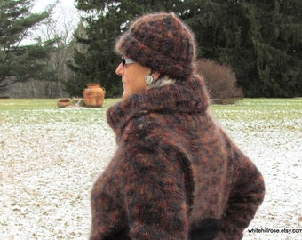 Handknit, Chic, Multicolor, Cowl Neck, Mohair Sweater & Hat Combo, Size: 10 - 14, Free Shipping in the US