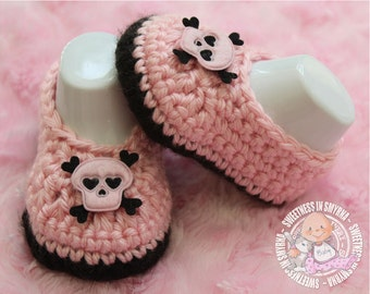 Baby Shoes - Pink - Black - Crochet Baby Booties - Baby Girl Booties - Ballet Slippers - Skull and Crossbones - Photo Prop