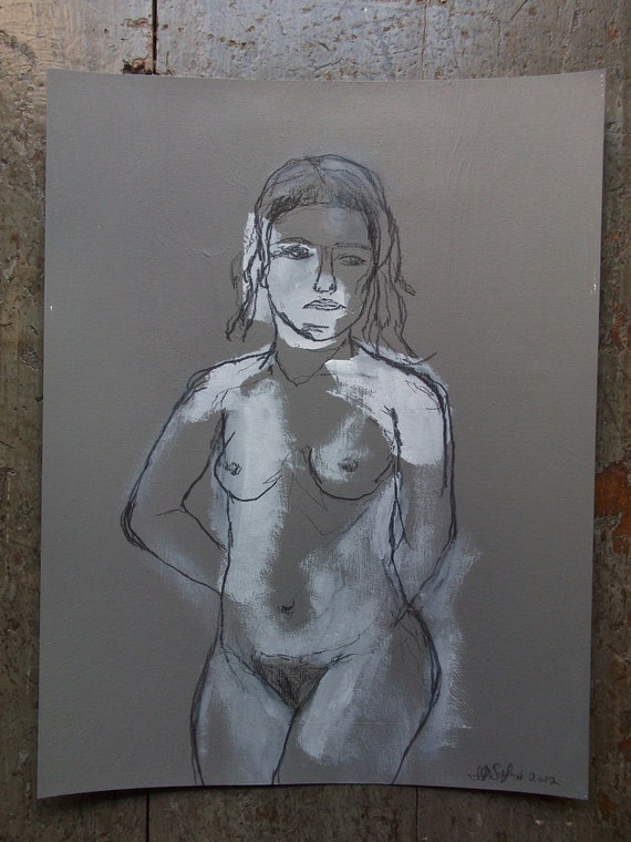 FEMALE NUDE  charcoal drawing # 3 / original art  illustration on paper