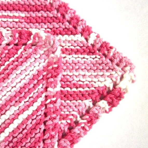 Kitchen Dish Cloths Pink Knit Dishcloth Cotton Candy Grandma's Favorite Wash Cloth Breast Cancer Awareness