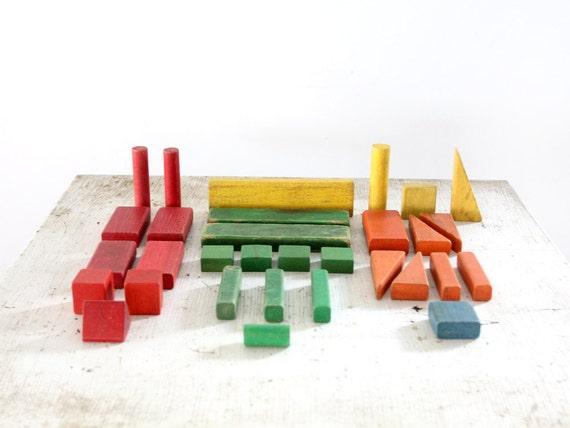 Vintage Toy Blocks / Color Wood Blocks