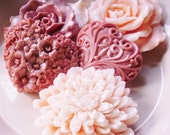 ROSES and HEART SOAPS, Dusty Rose and Peach, Light Pink, or Honey and Goats Milk, Chrysanthemum, Roses, & Hearts, Custom Scented