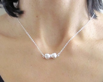 3D puffed BOW RIBBON sterling silver charm necklace chain, minimalistic jewelry