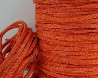 6yds Jewelry Cord Imitation Suede leather Micro Fiber Rust Orange faux Cord Lace 3mm x 1.5mm Bracelet String Cord Necklace Jewelry Supplies