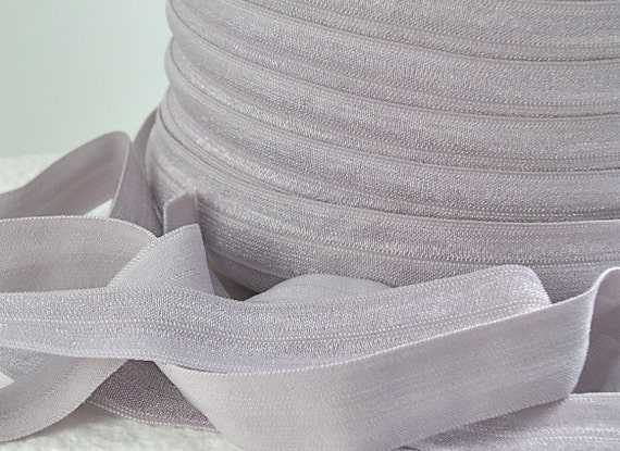 5yds Elastic Fold Over HeadBands Ponytail 5/8 inch 15mm FOE Light Grey Gray Stretch Trim