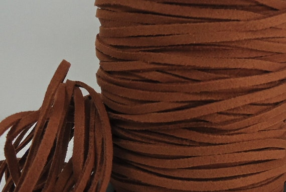18ft Faux Suede leather Micro Fiber  Jewelry Cord Faux leather Golden Brown Lace 3mm x 1.5mm Friendship Bracelet String Material