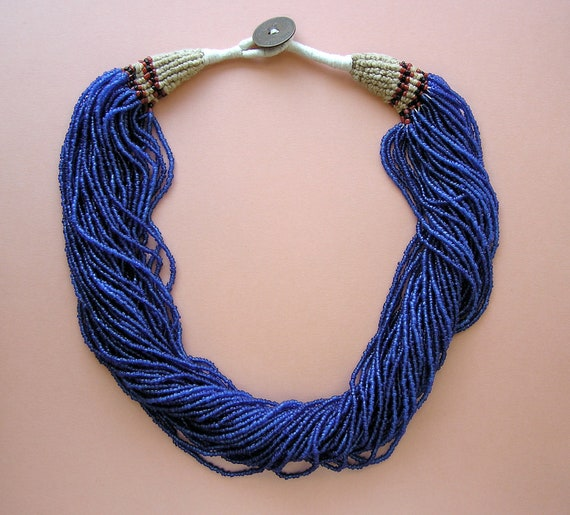 Vintage Multi Strand Cobalt Blue Seed Bead Necklace with Indian Pice Coin Closure