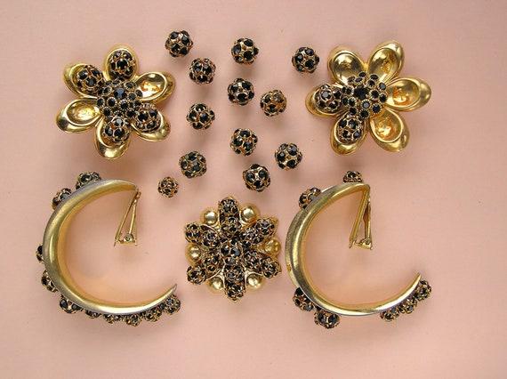Vintage Gold and Black Rhinestone Beads, Flower Earrings and Clip Hoop Lot