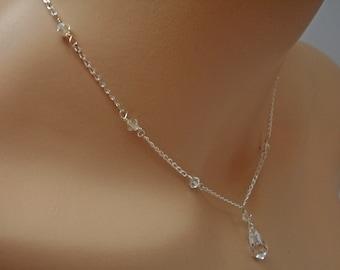 Personalized Bridesmaids Swarovski Crystal Bridal Y Drop Teardrop Pendant Necklace, The Lydia
