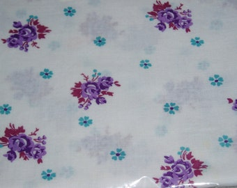 Antique Feedsack Material, Purple and Blue Flowers