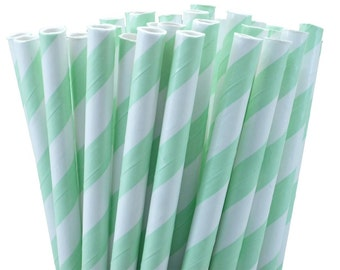 50 Mint Green Stripe Party Straws, Mint Green Wedding Straws, Mint Green Drinking Straws, Mint Straws with Printable DIY Flag Template