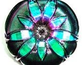 XL 36mm Green, Pink , and Black Czech Glass Button-Iridescent Glass-Silver Accents