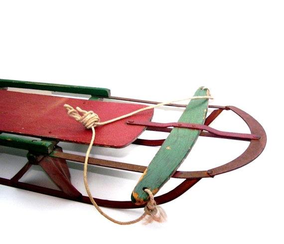 Vintage Snow Sled Metal Blades Wood Deck Red Green
