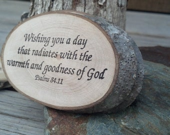 Psalms 84:11 TEN Rustic Reclaimed Branch Slices Hand Stamped Woodland HOLIDAY Tag Business Card Table Decor Craft Show  Green