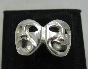 R001134 STERLING SILVER Ring Solid 925 Theater Comedy Tragedy Masks