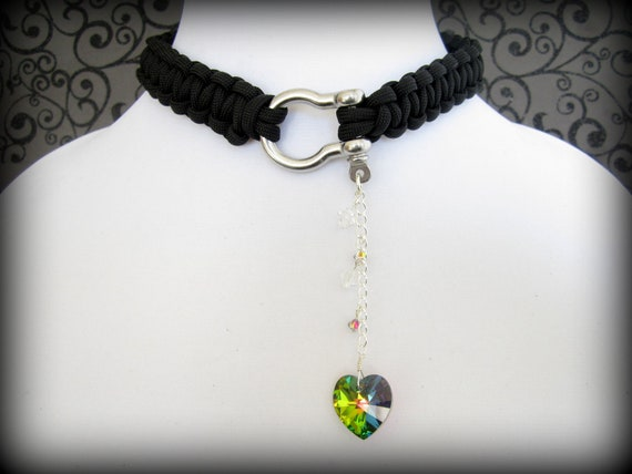 BDSM Collar, Choker Necklace, 550 Paracord Choker Necklace,Vitrail(green yellow/ blue) swarovski