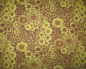 "Pumpkins Gone Wild  green flowers on brown 13"" X 42"" Moda Sandy Gervais"