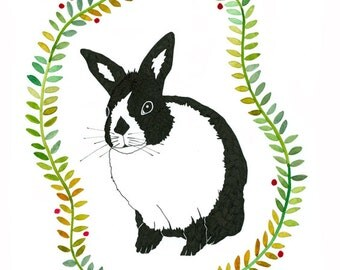 Original Ink Watercolour Illustration Original Art Black White Rabbit Nature Green Leaves Garland Drawing Realism