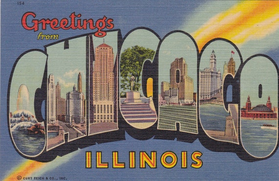 Greeting from Chicago- Illinois Souvenir- 1940s-50s Vintage Postcaed- Unused