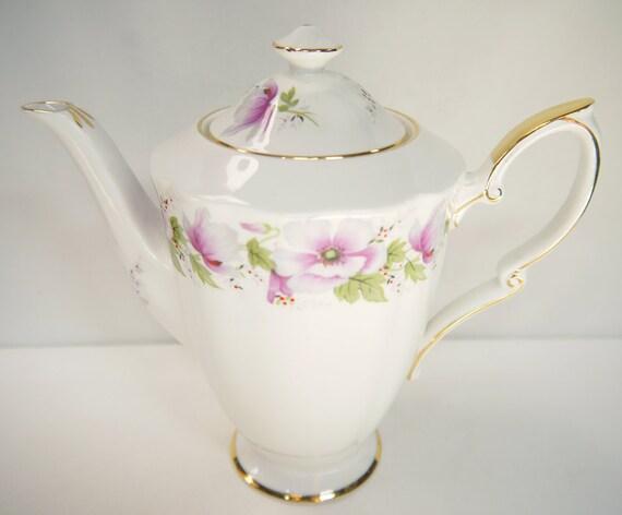 "Royal Standard Bone China Coffee Pot ""Violetta"" 1940s"