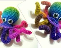 Crochet Tutorial, Octopus, Amigurumi Crocheted Octopus Pattern, Crochet Pattern, Instant Download