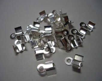 50 silver plated crimp ends, ca 4 x 9mm nice quality crimp ends, fold over crimp ends, crimp end caps, silver, crimp beads, findings