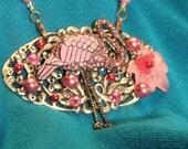 Pink Flamingo Pendant VinTaGE CoLlage NeCkLaCe HeartfeltByLucinda
