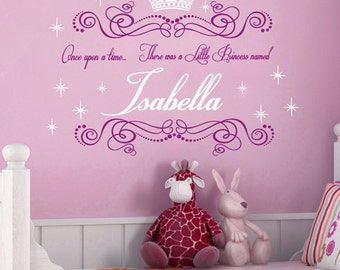 Once Upon a Time... 2-Color Personalized Name and Princess Crown Vinyl Wall Decals Art Stickers (No. 044)