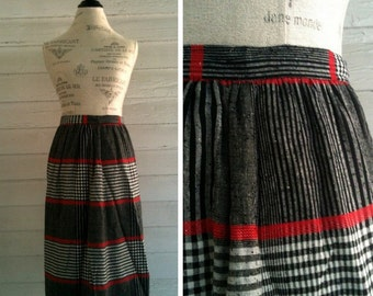 Vintage Skirt - Red, White and Black Plaid Skirt