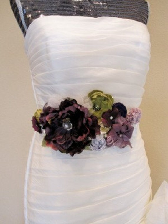 Plum & Sage Rosette Maternity or Bridal Sash Vintage-inspired w/ Handrolled Fabric Rosettes