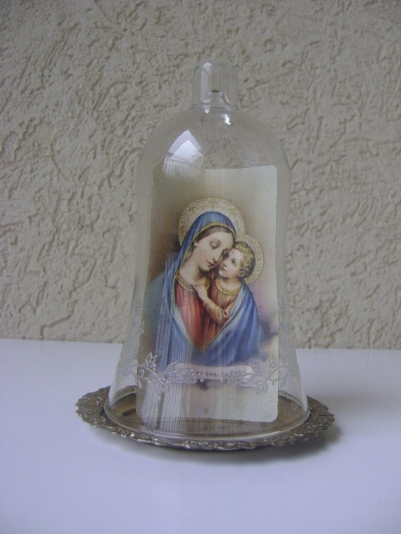 Vintage Glass Cloche Display-Christmas Decor-Mother Mary and Jesus