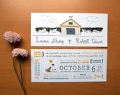 Rustic Wedding Invitation  - Cat Loves Dog & Barn With Vineyard Illustration