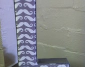 Fabric Letter Wall Art/ Hanging Decor - Grey and White fabric Mustache