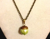 Green and Copper Acorn Necklace
