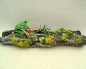 Tree Frog On Moss Covered Wooden Log - Original Paper Sculpture