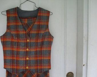 Plaid Maxi Skirt and Vest Orange Rust Gray ON SALE