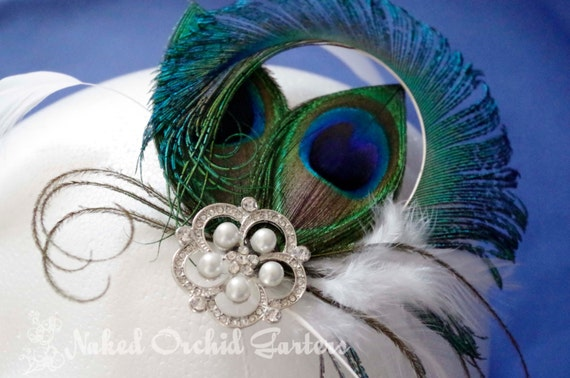 Bride's Hair Clip Fascinator, Teal Blue Peacock Feathers, Curly Peacock Swords, Purple and Teal Green Feathers, Ivory Pearl Pendant