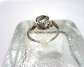 Gemstone Ring Labradorite Cabochon Sterling Silver Size 8