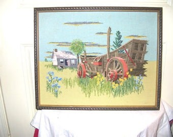 Vintage Needlepoint Wagon /Cabin