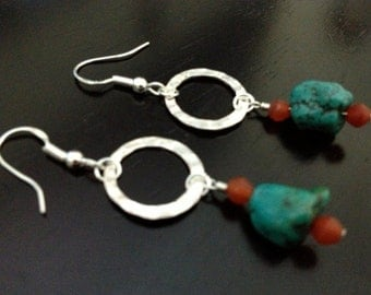 Turquoise and Carnelian Sterling Silver Earrings