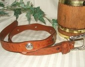 Reserved Tara  OVernight ship silver tone buckle and conchos 31 inch faux skin leather belt womans belt ladies belt rodeo belt cowgirl up
