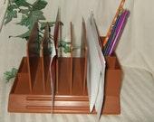 Vintage desk organizer Atomic Retro Max Klein plastic desk organizer in Brown butterscotch desk letter holder