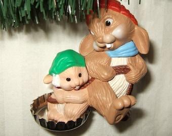 Vintage Hallmark Christmas ornament Hallmark 1985 Santa Soda  sledding rabbit ornament Hallmark ornament.