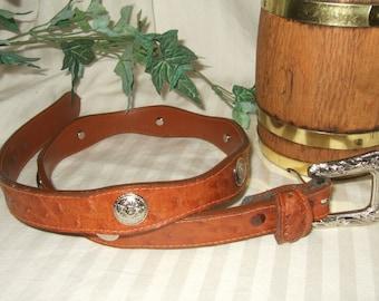 Vintage western belt silver tone buckle and conchos 31 inch faux leather skin belt womans belt ladies belt rodeo belt cowgirl up