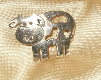 Vintage sterling brooch cow brooch bull brooch 925 sterling Mexico Where's the beef bovine jewelry dairy farmer jewelry farm chic